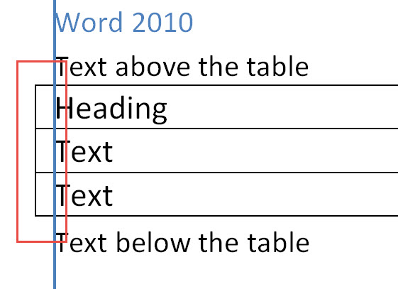 Word 2010 table alignment