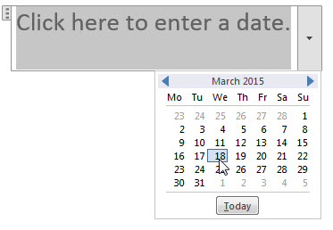 Word 2013 date picker content control
