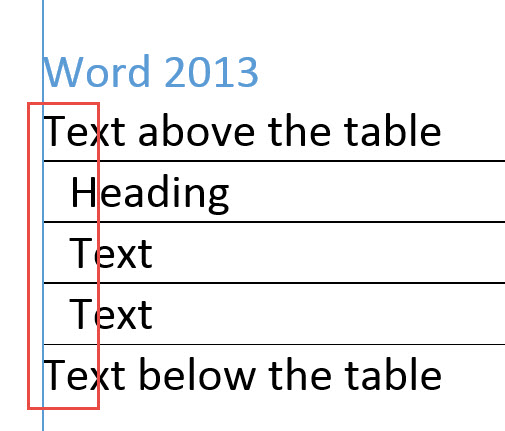 Word 2013 table alignment